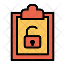 Clipboard Unlock Document Icon