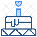 Heart Valentines Day Cake Icon