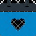 Valentine Day Heart Calendar Date Icon