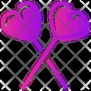 Valentine Day Heart Lollipop Icon
