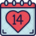 Valentines Calendar Date February Icon