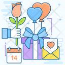 Valentines Day Lovers Day Valentines Celebration Icon