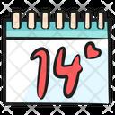 Valentines Day Calendar Yearbook Icon