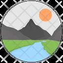 River Landforms Valley Icon