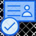 Verified Id Card Tick Identity Icon