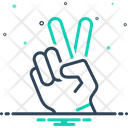 Victory Hand Showing Peace Icon