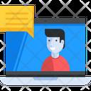 Laptop Man Speaking Icon