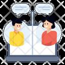 Online Employees Virtual Chatting Virtual Meeting Icon