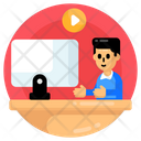 Online Class Video Lecture Virtual Lecture Icon