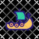 Viking Contour Ship Icon