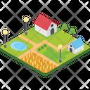 Farmhouse Village Rural House Icon