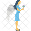 Fairy Girl With Wings Star Symbol Icon