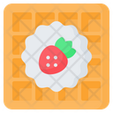 Waffle Strawberry Breakfast Icon