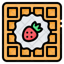 Waffle Strawberry Breakfast Icon