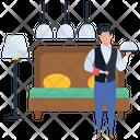 Waiter Hot Food Server Icon