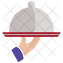 Waiter Hand Holding Cloche Icon