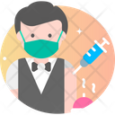 Male Waiter Vaccination Icon
