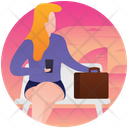 Travel Luggage Waiting Lounge Girl Waiting Icon