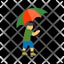 Walking Rain Human Icon