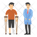Walking Aid Disbaled Person Crutches Icon