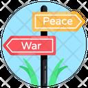 Peace Sign Board War Concept Roadboard Fingerpost Icon