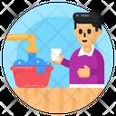 Child Labour Domestic Labour Washing Dishes Icon