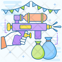 Water Festival New Years Celebration Water Fight Icon
