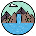 Waterfall Lake View Seashore Icon