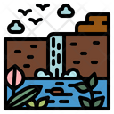 Waterfall River Landscape Icon