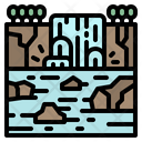 Waterfall Forest Tree Icon
