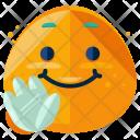 Wave Emoji Face Icon