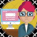 Web Developer Programmer Female Icon