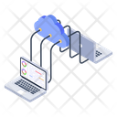 Connected Laptop Database Connection Web Hosting Icon