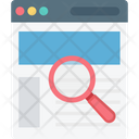 Wireframe Magnifying Web Content Icon