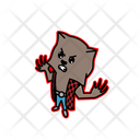 Cute Werewolf Are Angry Cartoons Stickers Icon