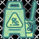 Wet Floor Warning Signaling Icon