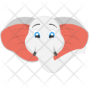 White Elephant Face Icon