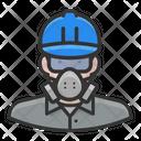 White Male Worker Asbestos White Icon