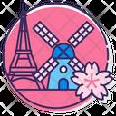 Meuropeeurop Windmill Wind Turbine Cherry Blossom Icon