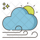 Windy Sunny Wind Day Cloudy Icon