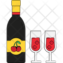 Wine Glass Champagne Bottle Icon
