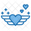 Wing Heart Wedding Card Message Icon