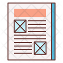 Wireframe Sketching Newspaper Layout Ad Icon