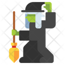 Witch Broom Halloween Icon
