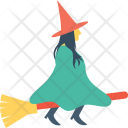Witch Halloween Broom Icon