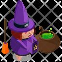 Witch Cauldron Broom Icon