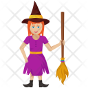 Witch with Broom Icon