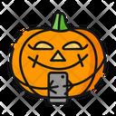 Pumpkin Halloween Emoji Icon