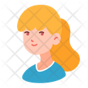 Girl Blonde Pony Tail People Icon