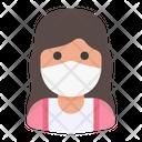 Woman Avatar Medical Mask Icon